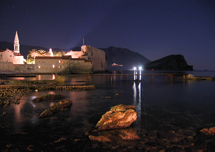 budva night montenegro
